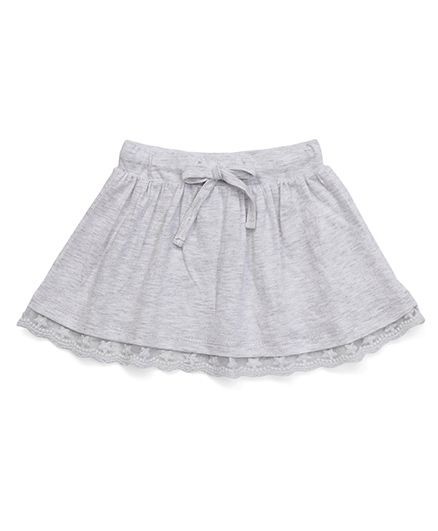 Fox Baby Skirt With Lace Hem And Drawstring - Melange Grey