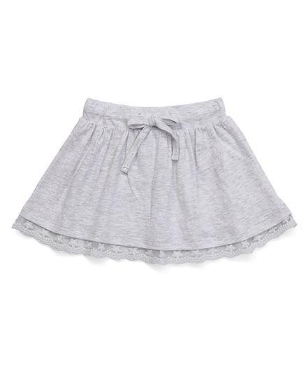 Fox Baby Skirt With Lace Hem And Drawstring - Melange Grey