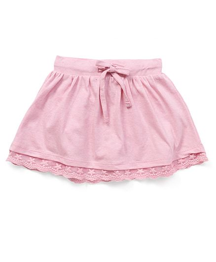 Fox Baby Skirt With Lace Hem And Drawstring - Pink