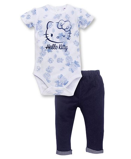 Fox Baby Half Sleeves Onesies And Leggings Hello Kitty Print - White & Navy Blue