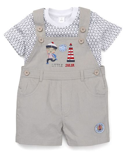 ToffyHouse Dungaree With T-Shirt Sailor Embroidery - Grey White