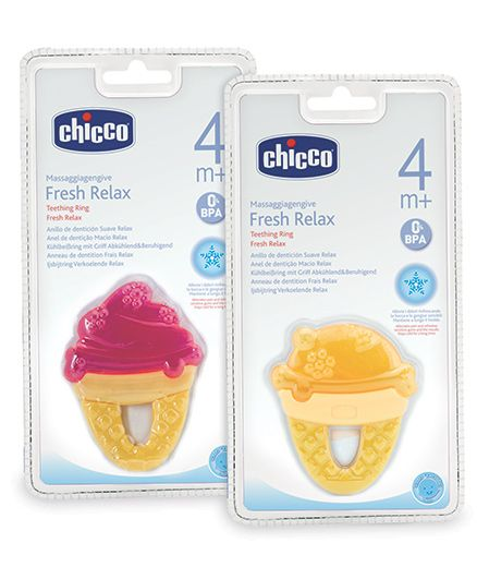 Chicco Fresh Relax Ice Cream Teether - Pink Yellow