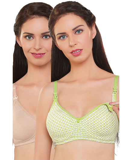 Inner Sense Organic Cotton Antimicrobial Nursing Bras Pack Of 2 - Green Cream