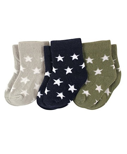 Footprints Organic Cotton And Bamboo Socks Stars Design Pack Of 3 - Grey Blue Green