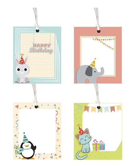 Little Jamun Cute Animal Theme Gift Tag - Set Of 8