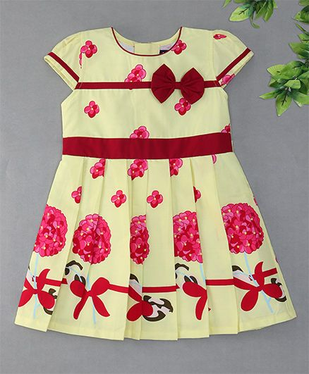 Enfance Cap Sleeves With Front Bow Attachment Dress - Yellow