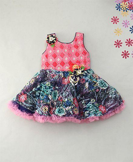 Enfance Layered Flower Print Dress Attach Diamoned Tinsel - Pink