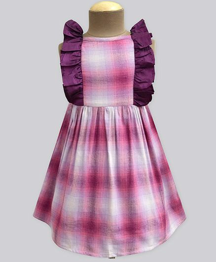 A.T.U.N Jelly Ombre Flannel Flutter Dress - Purple