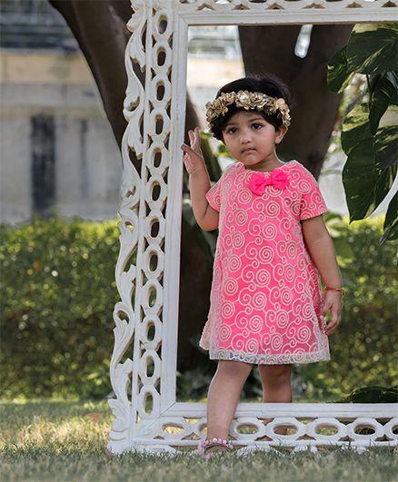 Kidsdew Cap Sleeves Embroidered Partywear Dress - Pink