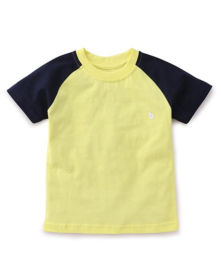 Babyhug Half Sleeves T-Shirt - Yellow Grey