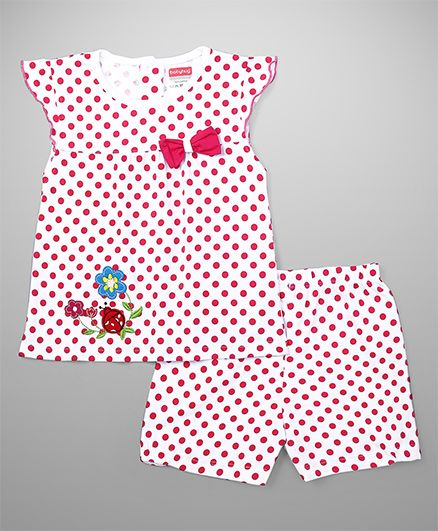 Babyhug Cap Sleeves Dotted Top And Shorts Bow Applique - White Pink
