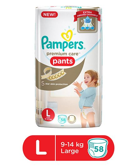 Pampers Premium Care Baby Diapers, L 58 Pieces