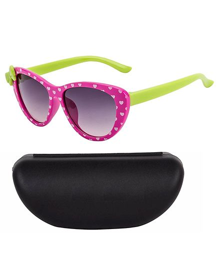 Kidofash Classic Sunglasses With Case - Green & Pink