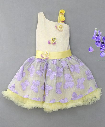 Enfance Intricated Netted Shiny Butterfly Attached Dress - Yellow