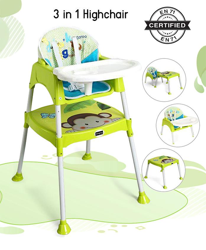 Babyhug 3 in 1 Play And Grow High Chair - Green