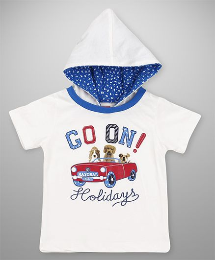 Babyhug Half Sleeves Hooded T-Shirt Holidays Print - White
