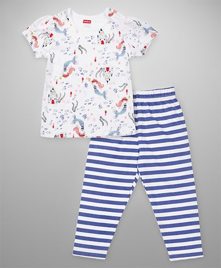 Babyhug Short Sleeves Top And Stripe Pajama - White Blue