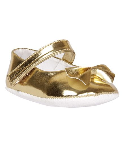 Pikaboo Booties With Bow Applique - Golden