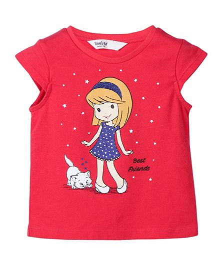 Beebay Cap Sleeves T-Shirt Printed - Red