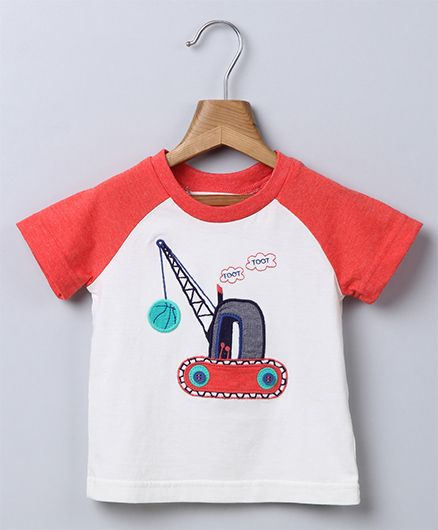 Beebay Raglan Sleeves Crane Patch T-Shirt - Off White Coral