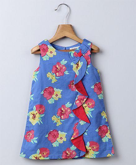 Beebay Sleeveless Waterfall Frill Floral Print Dress - Blue