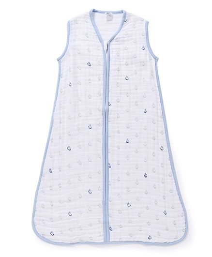 Hudson Baby Anchor Print Sleeping Bag - Sky Blue