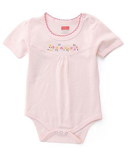 Babyhug Half Sleeves Floral Embroidered Onesie - Pink