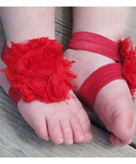 Akinos Kids Elastic Rosset Flower Barefoot Double Strap Sandal Shoes - Red