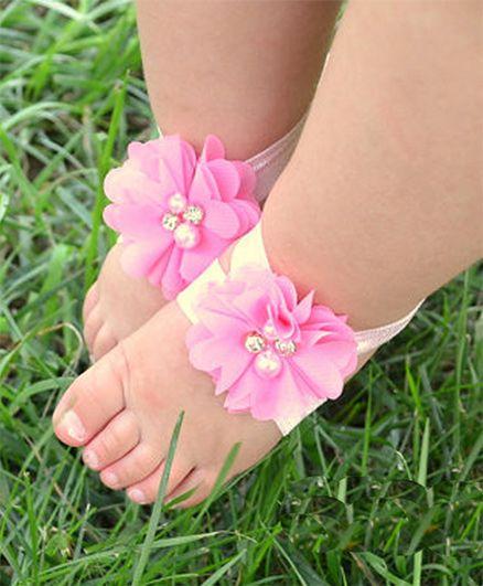 Akinos Kids Diamond Pearl Flowers Barefoot Sandals - Light Pink