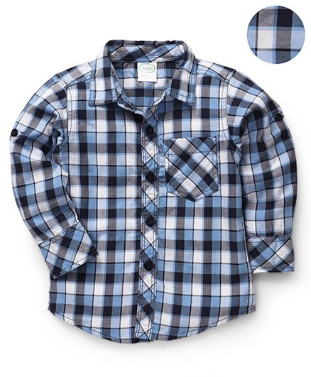 Babyhug Full Sleeves Checks Shirt - Blue Black White
