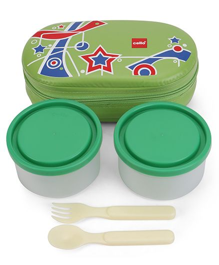 Cello Tit Bit Lunch Box With Bag - Green