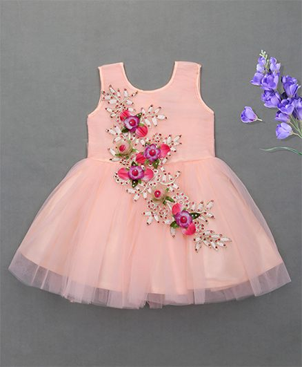 Enfance Elegent Party Wear Dress - Peach
