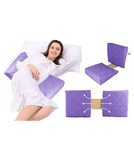 Get It Double Wedge Pregnancy Pillow With Quilter Cover - Purple