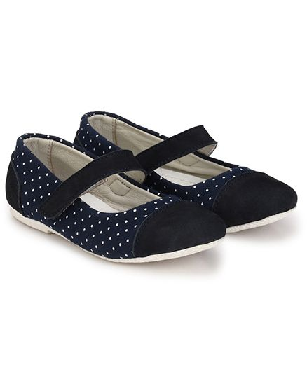 Tuskey Ballerina Shoes Polka Dots - Navy Blue