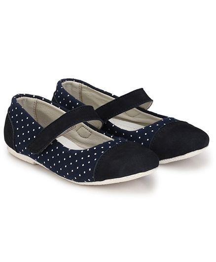 Tuskey Ballerina Shoes Polka Dots - Navy Blue
