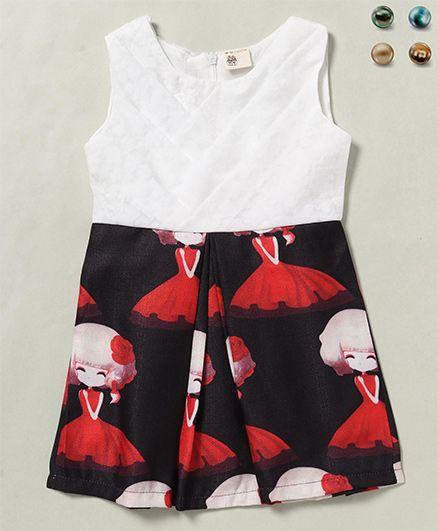 100 Kids Girl Print Sleeveless Dress - White Black & Red