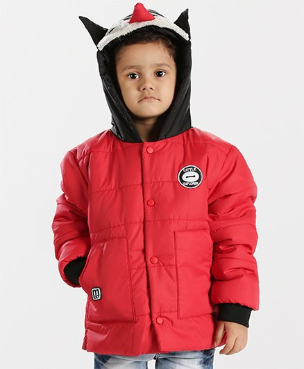 Babyhug Full Sleeves Hooded Jacket - Red Black