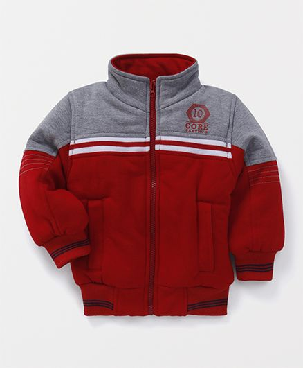 Babyhug Full Sleeves Sweat Jacket - Red Grey
