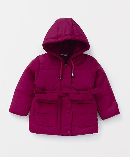 Babyhug Full Sleeves Hooded Jacket - Fuchsia