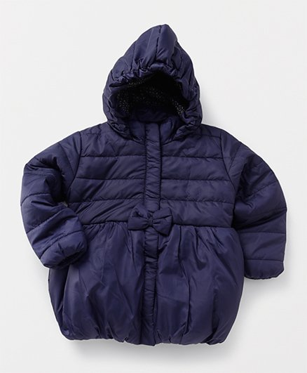 Babyhug Full Sleeves Hooded Jacket Balloon Pattern - Navy Blue