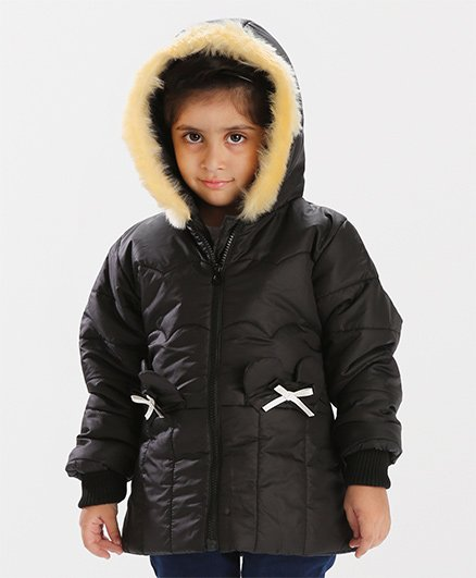 Babyhug Full Sleeves Hooded Jacket Bow Design - Black
