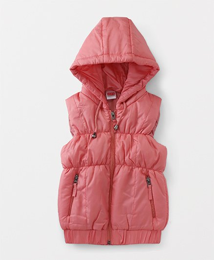 Babyhug Sleeveless Solid Hooded Jacket - Peach