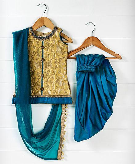 Babyhug Sleeveless Kurti And Dhoti Style Salwar With Dupatta - Golden Yellow Royal Blue
