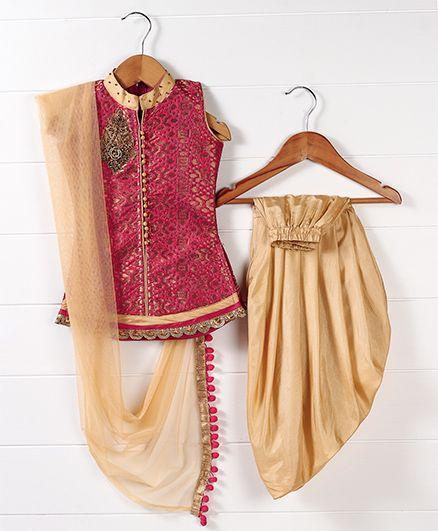 Babyhug Sleeveless Kurti And Dhoti Style Salwar With Dupatta - Red Golden