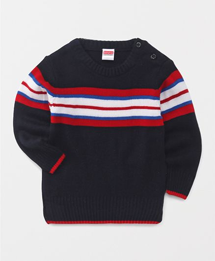 Babyhug Full Sleeves Stripes Sweater - Black