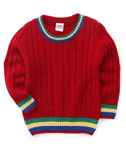 Babyhug Full Sleeves Pullover Solid Sweater Cable Design - Red