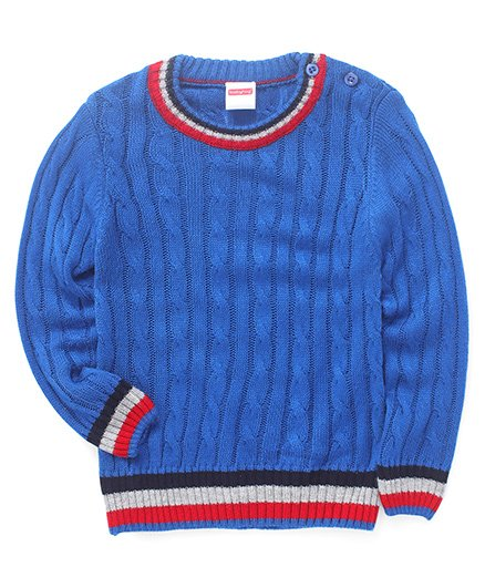 Babyhug Full Sleeves Pullover Solid Sweater Cable Design - Blue
