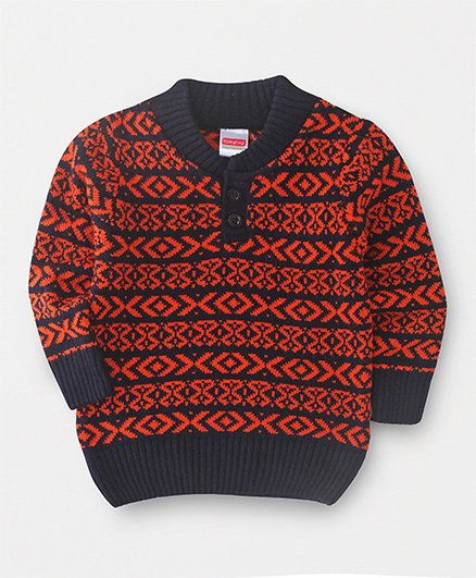 Babyhug Full Sleeves Sweater Geometrical Knitted Design - Red