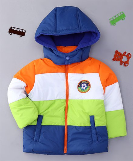 Babyhug Full Sleeves Hooded Jacket - Blue & Multi Color
