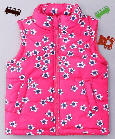 Babyhug Sleeveless Jacket Floral Print - Pink